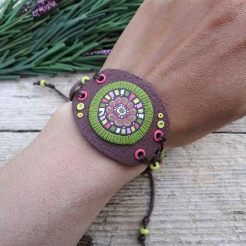 Wide Brown Statement Bracelet with a Colorful Pattern