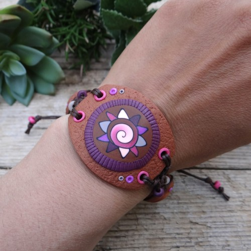 Wide Brown Statement Bracelet with an Abstract Pattern