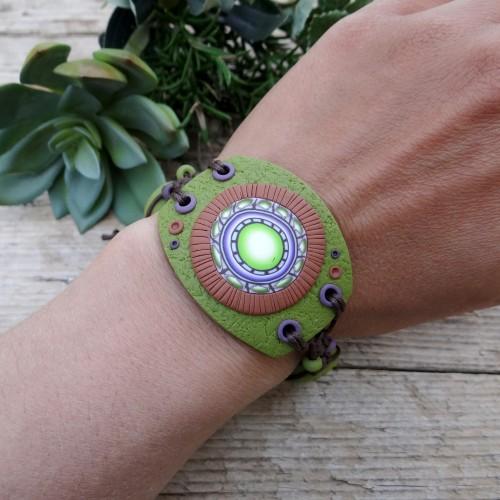 Wide Earthy Mandala Bracelet with Adjustable Size