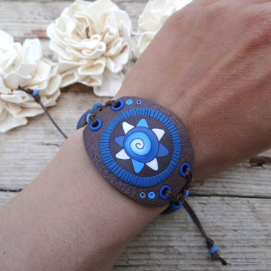 Wide Blue and Brown Statement Bracelet with an Abstract Pattern