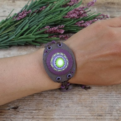 Wide Handmade Mandala Bracelet with Adjustable Size
