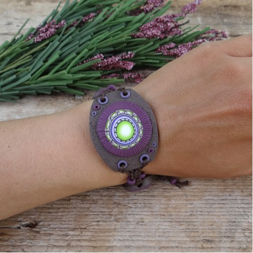 Wide Handmade Mandala Bracelet with Adjustable Size