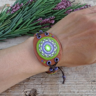 Unique Earthy Mandala Bracelet with Adjustable Size