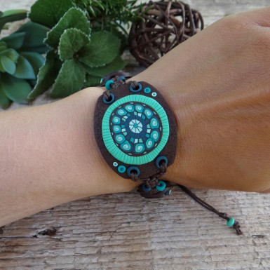 Wide Earthy Boho Bracelet with Adjustable Size