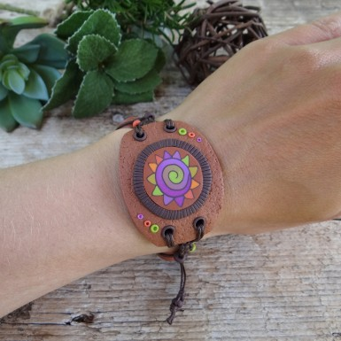 Wide Brown Statement Bracelet with Colorful Abstract Pattern