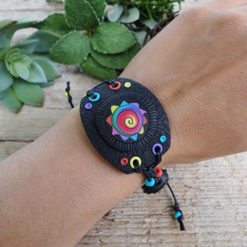 Large Black Statement Bracelet with a Colorful Pattern