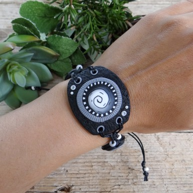 Large Black and White Statement Bracelet with a Spiral Pattern