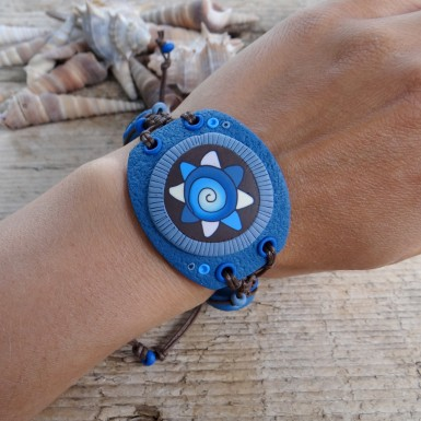 Wide Blue and Brown Polymer Clay Bracelet with an Abstract Pattern