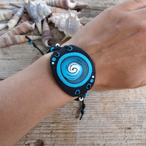 Large Black Statement Bracelet with Turquoise Spiral Pattern