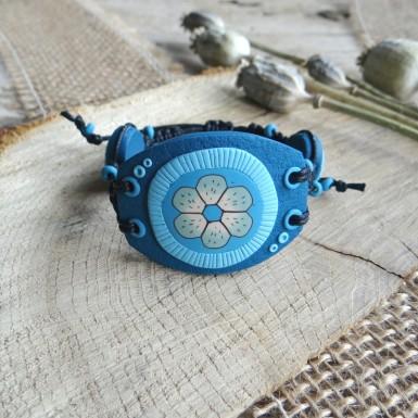 Large Blue Macrame Bracelet with Flower Design