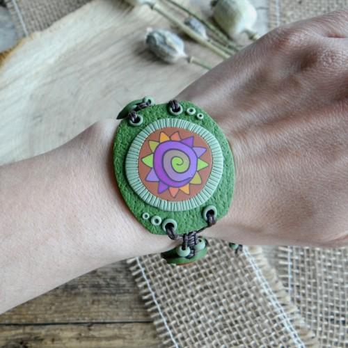 Big Green Statement Bracelet for Nature Lover