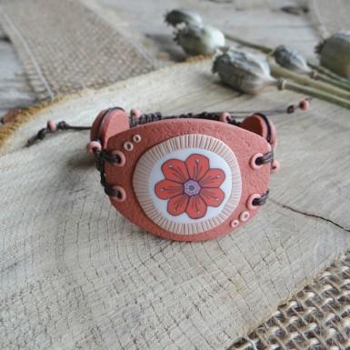 Big Coral Cuff Bracelet with Flower Design