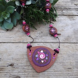 Long Earthy Statement Necklace with Adjustable Length