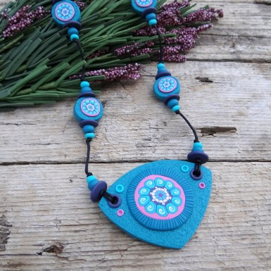 Long Boho Turquoise Necklace with Adjustable Length