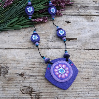 Long Purple Statement Necklace with a Large Pendant
