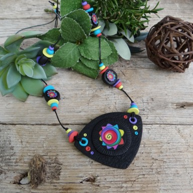 Long Statement Pendant Necklace with a Colorful Pattern