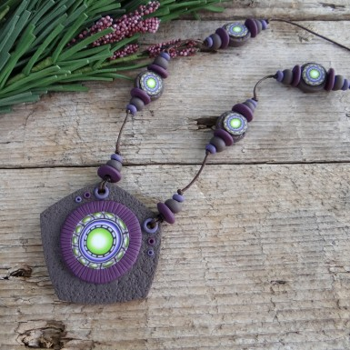 Long Handmade Necklace with a Large Focal Bead