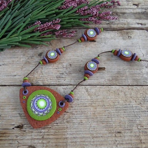 Long Green and Brown Necklace with a Large Focal Bead