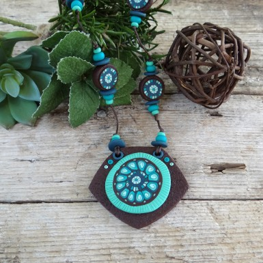 Long Brown and Teal Necklace with an Abstract Pattern