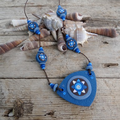 Long Handmade Brown and Blue Statement Necklace