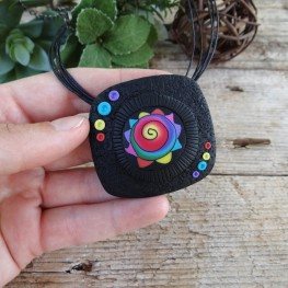 Large Statement Pendant Necklace with a Colorful Pattern