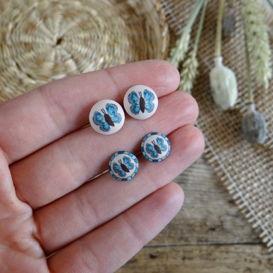 Blue Butterfly Stud Earrings
