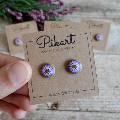 Zeleno vijolične rožice - Ročno izdelani uhani