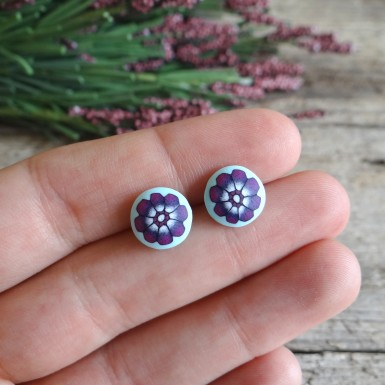 Mint Earrings Studs with Flower Design