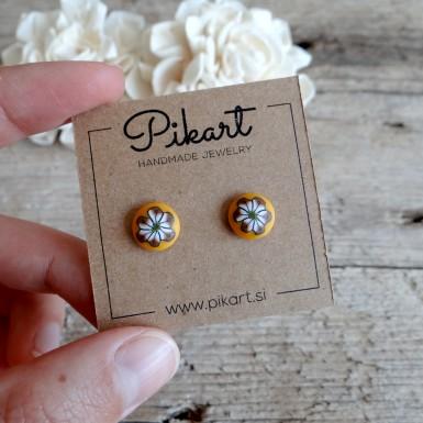 Yellow Stud Earrings - Unique Handmade Yewelry