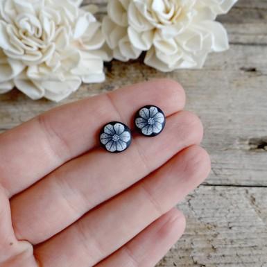 Black and White Earrings - Black Stud Earrings