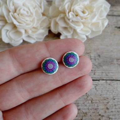 Colourful Stud Earrings - Handmade Flower Jewelry