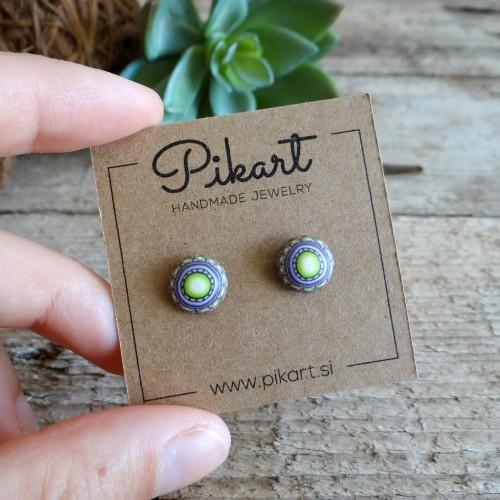Brown and Green Mandala Stud Earrings