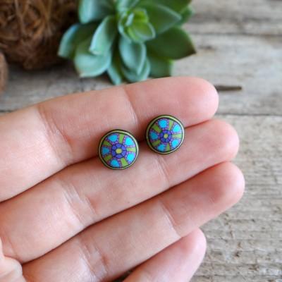 Multicolor Stud Earrings with Mandala Pattern