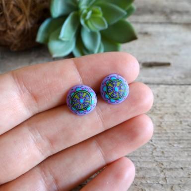 Živahni vijolični mandala uhani na metuljčka - boho nakit