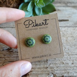 Green Geometric Stud Earrings - Mandala Earrings