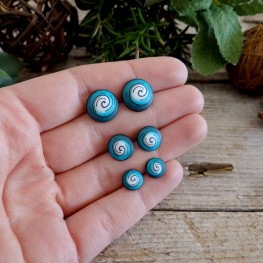 Turquoise Spiral Stud Earrings for Men and Women