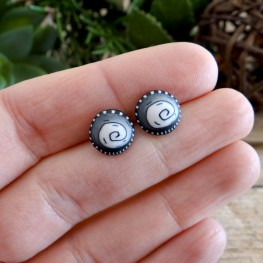 Black and White Stud Earrings - Cool Spiral Earrings for Men and Women