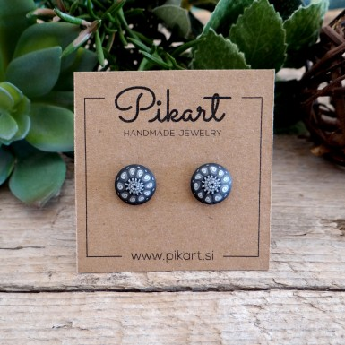 Black and White Stud Earrings for Men and Women