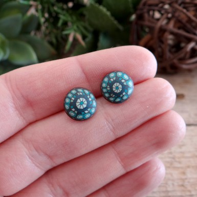 Bohemian Brown and Teal Stud Earrings for Men and Women