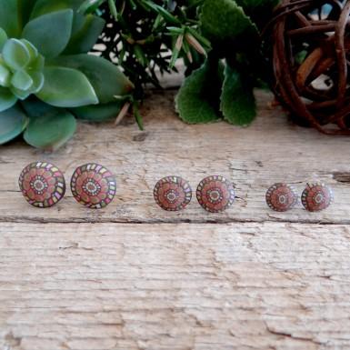 Fun Tribal Stud Earrings in Earthy Colors - Orange, Brown, Green