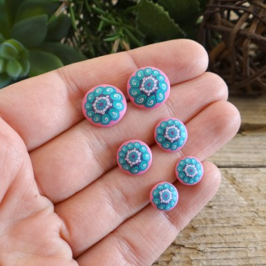 Cute Pink and Turquoise Stud Earrings For Girls