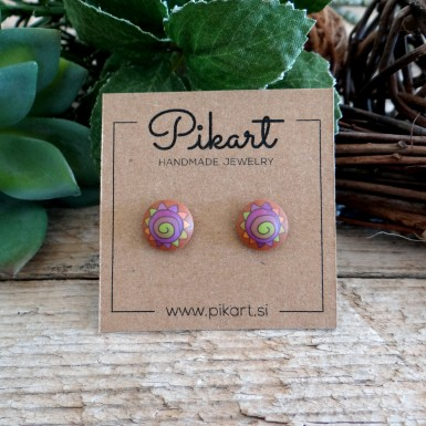 Cool Funky Stud Earrings with a Colorful Spiral Design