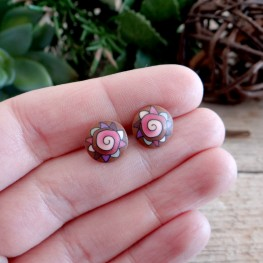 Cute Pink Spiral Stud Earrings for Girls