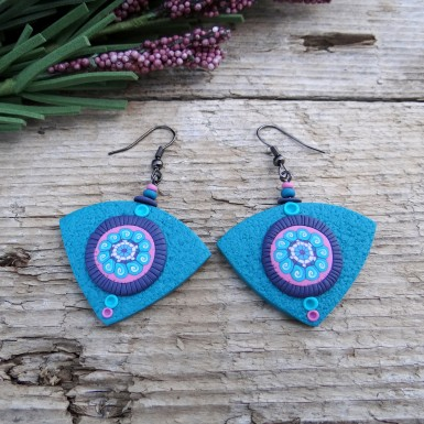 Boho Turquoise Drop Earrings with an Abstract Pink Pattern