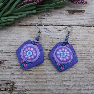Boho Purple Drop Earrings with an Abstract Pink Pattern
