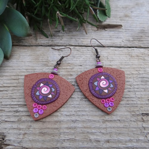Brown Statement Dangle Earrings with a Unique Pattern