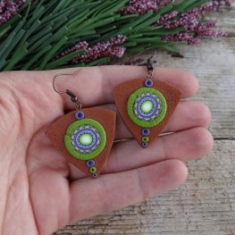 Brown and Green Mandala Dangle Earrings