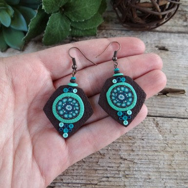 Boho Brown and Teal Drop Earrings with an Abstract Pattern
