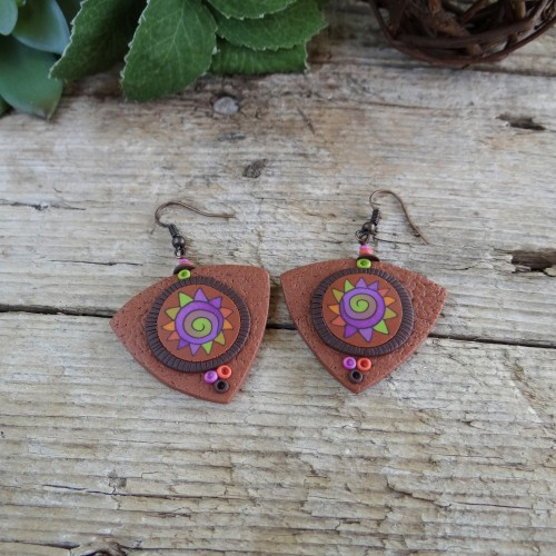 Brown Statement Dangle Earrings with a Unique Colorful Pattern