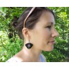 Black Statement Dangle Earrings with a Colorful Pattern